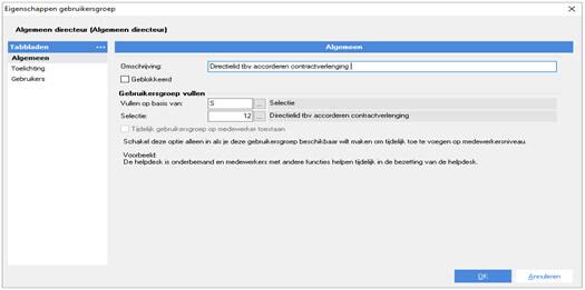 AFAS verantwoordelijkheden - Stap 2: Gebruikersgroep aanmaken